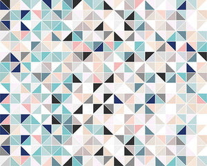 Geometry Wall Mural-Contemporary pastel shades complement the triangular pattern.