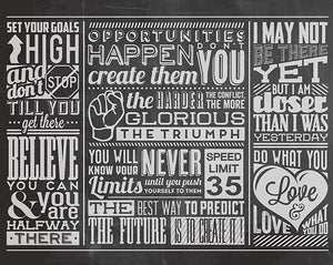 Chalk Quotes Wall Mural-This wall mural contains beautifully arranged inspirational quotes in a chalkboard style. things like -do what you love, speed limit, etc.