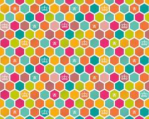 Queen Bee Wall Mural-honeycomb wall mural. Bright shades of pink, orange, blue, green, mauve, and yellow create a rainbow of color.