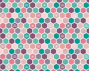 Princess Bee Wall Mural-honeycomb wall mural. Pastel shades of pink, purple, teal, and dustry rose create a rainbow of color.