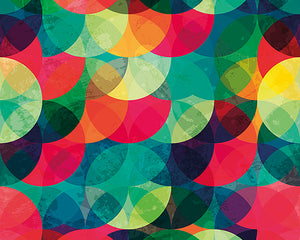 Tonal Circles Wall Mural-Bold shades of pink, orange, blue, green, teal, and yellow create a kaleidoscope of color.
