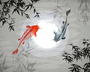 Wandar Wall Mural-The grey and red koi swim around a ring of light like nature's ying and yang.