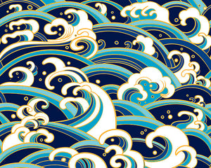 Japanese Waves Wall Mural-The illustrated navy blue, teal, turquoise, and mustard color palette gives it a modern and fresh look.