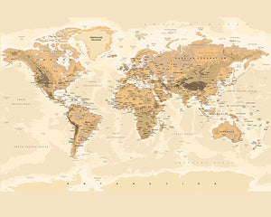 Sepia World Wall Mural-The map shows topography and capital cities. done in neutral tones