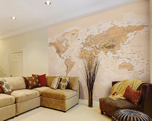 Sepia World Wall Mural-The map shows topography and capital cities. done in neutral tones. hung in living room