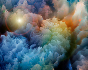 Moody Clouds Wall Mural-rainbow clouds swirl together, The blue, green, yellow, and orange tones merge together to form a nebula of color.