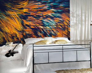 Feathers Wall Mural-macro photography feather wall mural. The vibrant shades of bright orange and inky blue. hung in bedroom