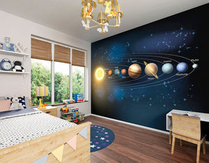 Planets Wall Mural-planets of the solar system including Pluto. hung in bedroom
