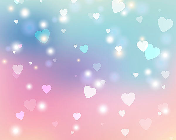 Sweet Hearts Wall Mural-The turquoise, purple, and pink gradient is accented by hearts and sparkles.