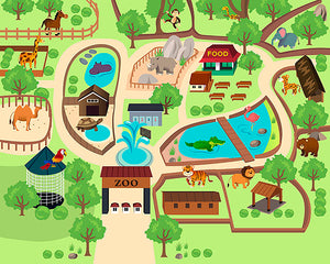 Zoo Time Wall Mural (WALS0277) This mural is perfect for zoo lovers!