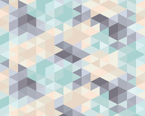 Pastel Triangles Wall Mural-Hundreds of tiny pastel grey, green and orange geometric triangles