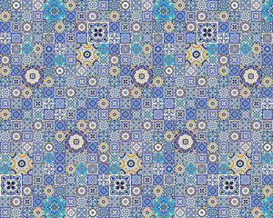 Mosaic Tiles Wall Mural-blue and gold hues give it the look of Moroccan tiles.