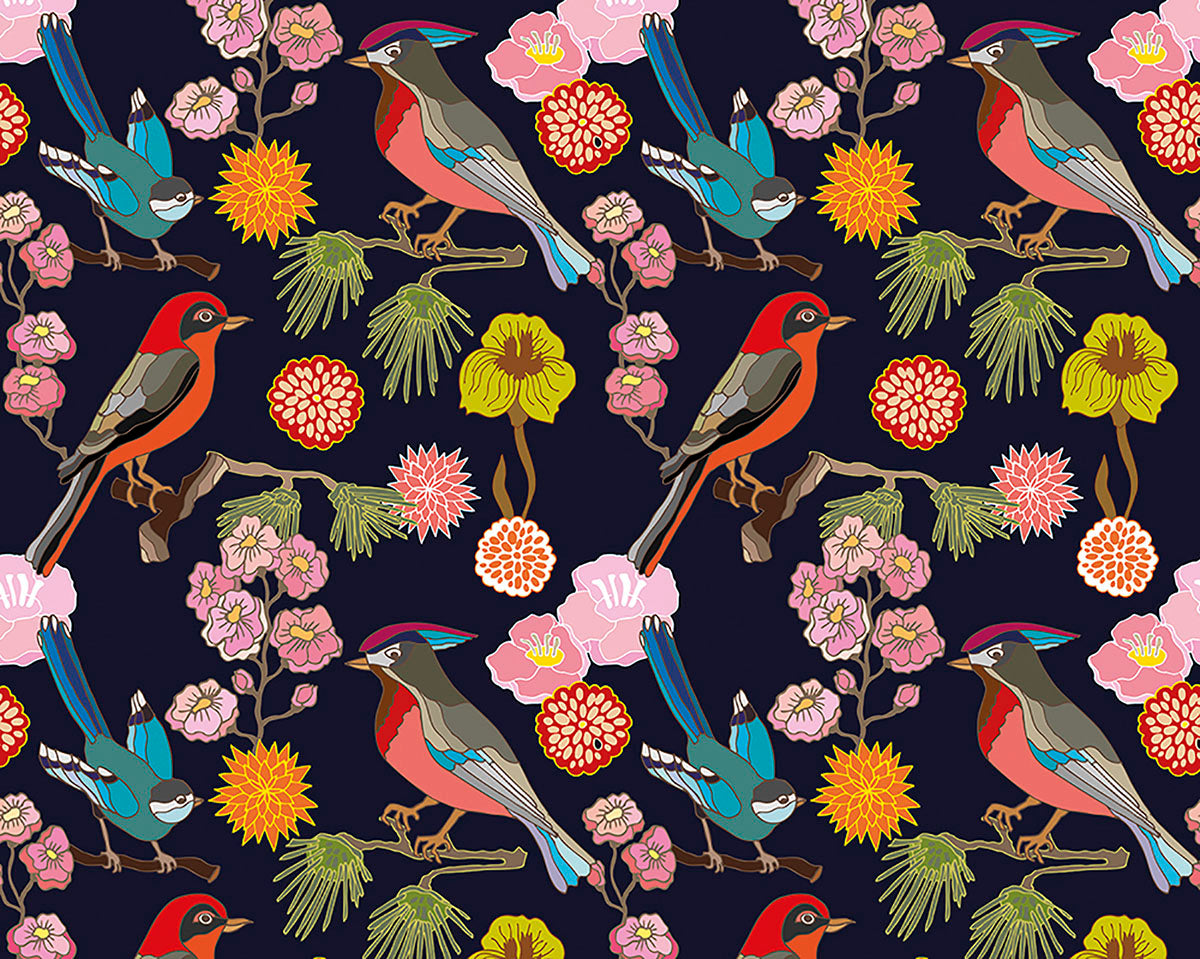 Floral Birds Wall Mural Chic Wallpaper Boutique