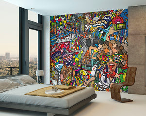 Sports Illustrations Wall Mural-a comic style, this modern mural bursts with color and embodies the excitement of athletes. hung in bedroom