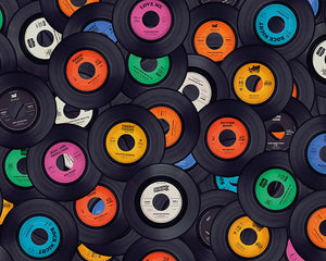 Vinyl Music Wall Mural-vinyl records in various colors like blue, yellow, orange, etc