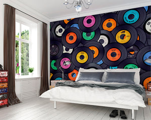 Vinyl Music Wall Mural-vinyl records in various colors like blue, yellow, orange, etc. hung in bedroom