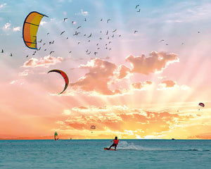 Wind Surfer Wall Mural-a wind surfer glides across the glossy ocean with a pastel sunset and flock of seagulls.