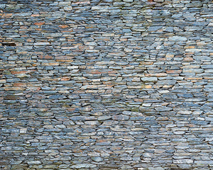 Slate Wall Mural-grey slate in various sizes and shapes of stone.