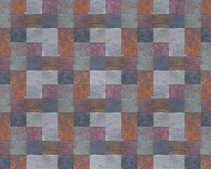 Stone Tiles Wall Mural-checkered stone pattern of dark purple, orange and grey colors.