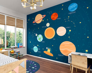 Outer Space Wall Mural-a playful yellow alien and labeled planets.  hung in classroom