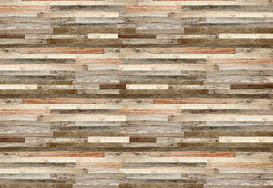 Wooden Wall Shade Of Red Wall Mural-Rustic, Slim wooden planks in alternating neutral hues give us this country design.