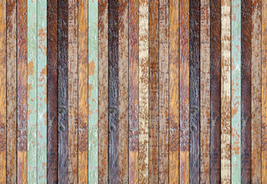 Vintage Wooden Wall Wall Mural-Distressed details and teal and coffee hues.