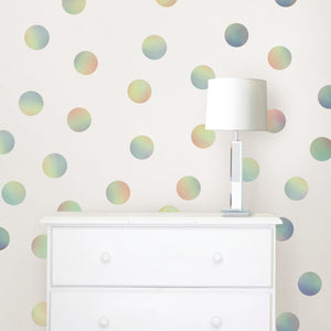 Prism Confetti Dots-shimmering dots of various colors hung in a child's room
