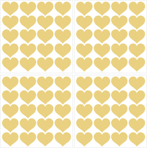 Metallic Gold Hearts Wall Art Kit-metallic gold heart peel and stick decals