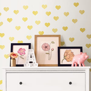 Metallic Gold Hearts Wall Art Kit-metallic gold heart peel and stick decals.  Shown on nursery wall.