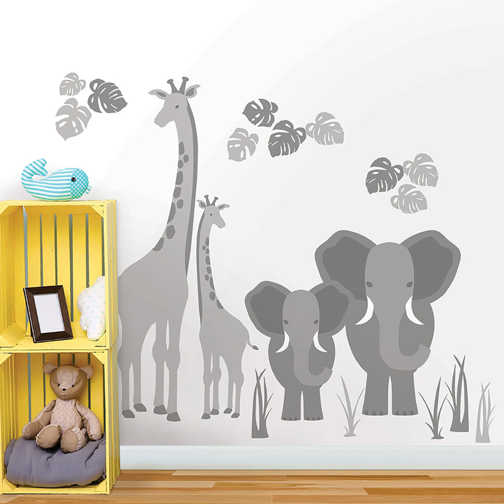 Wild About You Wall Art Kit-has adorable giraffes and elephants in soothing grey tones.  Hung on nursery wall