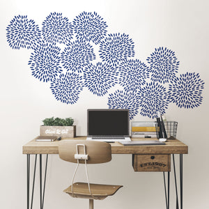 Midnight Fireworks Wall Art Kit-peel and stick wallpaper fireworks are deep blue hue and a dazzling sparklers design.  Put on wall over desk.