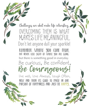 Just Be Happy Wall Art Kit-peel and stick wallpaper- has inspiring quotes like, Don't let anyone dull your sparkle, and Remember where you come from.  Green woodland leaves and sprigs frame these encouraging phrases.