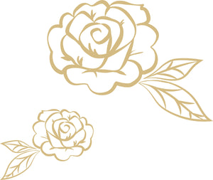Stay Rose Wall Art Kit-2 different sized peel and stick roses that are golden in color and have an outlined design.