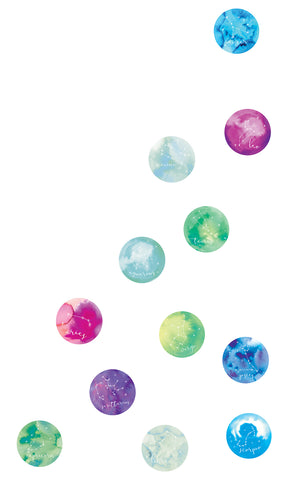 Written In The Sky Wall Art Kit (SKU WPK2812) With pastel hues and whirling designs, these confetti dots have an out of this world feel that show a different constellation on each.