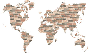 Brick Wall World Map Wall Art Kit-peel and stick pink and grey industrial brick in the shape of a world map,