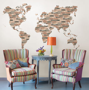 Brick Wall World Map Wall Art Kit-peel and stick pink and grey industrial brick in the shape of a world map, Hung over sitting area