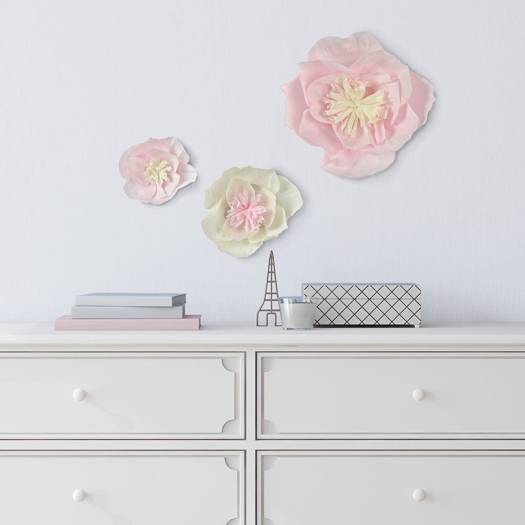 Blossom 3D Wall Art Kit-3 pink and cream paper layered blossoms of different sizes.  Hung above dresser.
