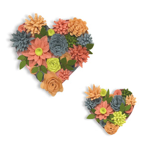 Heart Bouquet 3D Wall Art Kit-2 flower shaped hearts that are filled with Dazzling coral daisies, orange roses, and slate and yellow carnations.