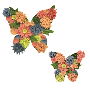 utterfly Bouquet 3D Wall Art Kit-is made up of 2 butterflies with Brilliant yellow, coral, orange and slate felt flowers
