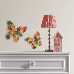 utterfly Bouquet 3D Wall Art Kit-is made up of 2 butterflies with Brilliant yellow, coral, orange and slate felt flowers.  Hung in bedroom over dresser.
