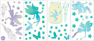 Fairy Dust Glow in the Dark Wall Art Kit, -peel and stick wallpaper pixie dust, these green and blue glow in the dark fairy decals also includes stars and butterflies
