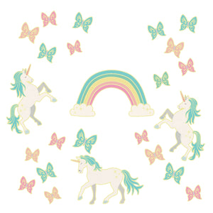 Dark Wall Art Kit-peel and stick wallpaper that glow in the dark unicorns, butterflies and rainbow are beautiful shades of green, orange and pink pastel.