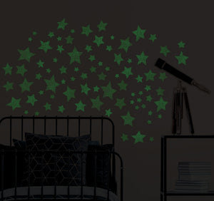 Star Struck Glow in the Dark Wall Art Kit-blue glow in the night stars. shown glowing at night in bedroom