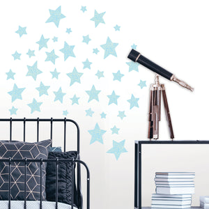 Star Struck Glow in the Dark Wall Art Kit-blue glow in the night stars.  shown during the day