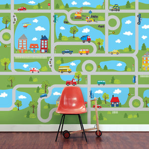 Road Map Mural-With curvy roads, trucks, cars, bright blue lakes and charming homes this mural creates a charming town. hung in playroom