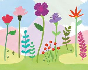 Happy Poppy Mural-poppies, carnations and forest plants pop against a light yellow, pink and peach background