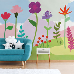 Happy Poppy Mural-poppies, carnations and forest plants pop against a light yellow, pink and peach background. hung in living room