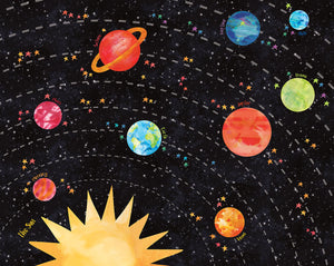 Out of This World Mural-With a hand painted design, these vivid planets seem to glow against an orange and blue star-speckled black background.