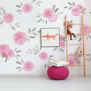 Rosie Mural-Pink roses with grey leaves on a white background. hung in room