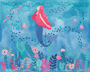 Mermaid Magic Mural-Mermaid in coral reef